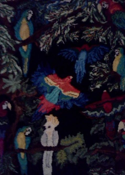 Parrots Greeting Card featuring the tapestry - textile Parrotdise by Nancy Marthaler