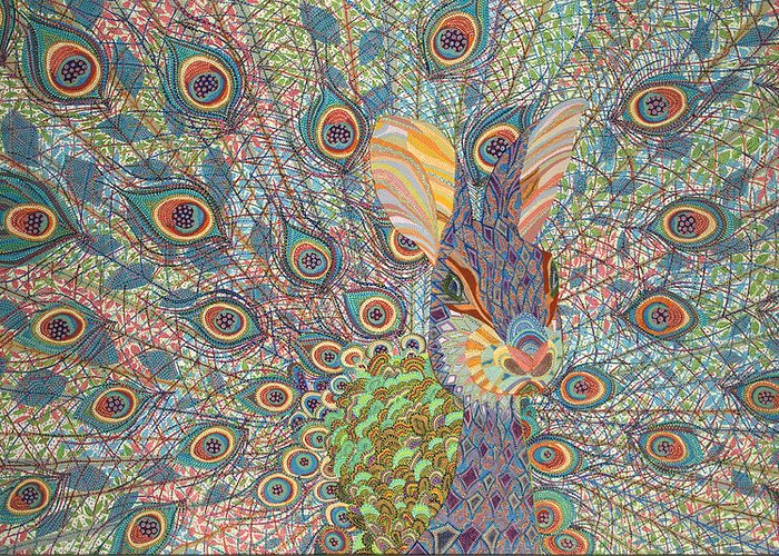 Peacock Greeting Card featuring the painting Peabit by Erika Pochybova