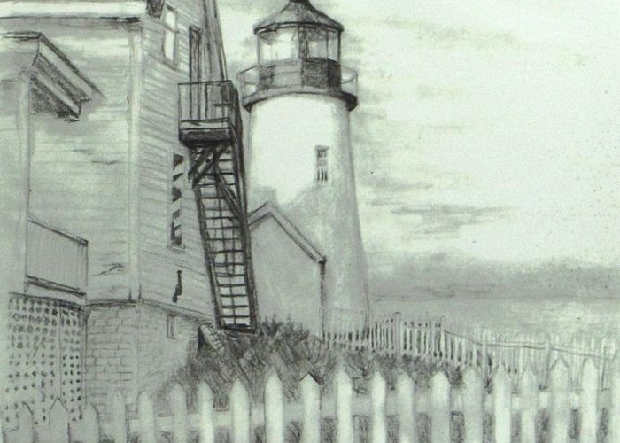 Pemaquid Lighthouse Greeting Card featuring the drawing Pemaquid Lighthouse by Jack Skinner