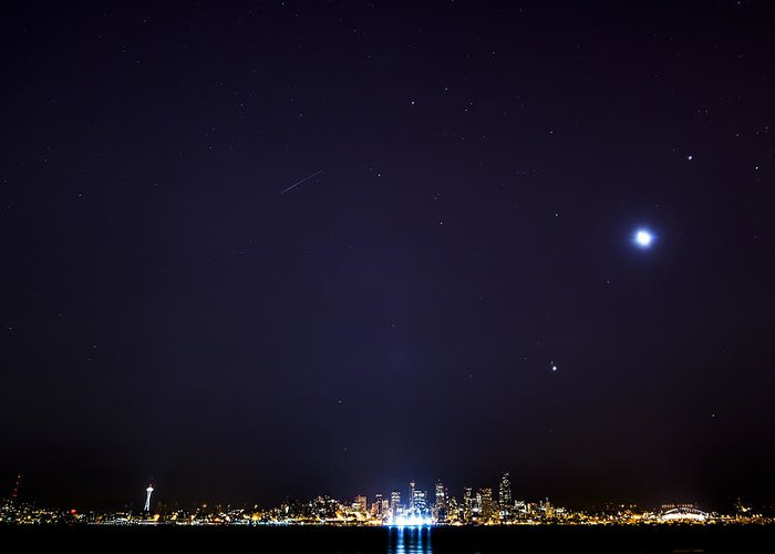 Meteor Greeting Card featuring the photograph Perseid Meteor In Seattle by Yoshiki Nakamura