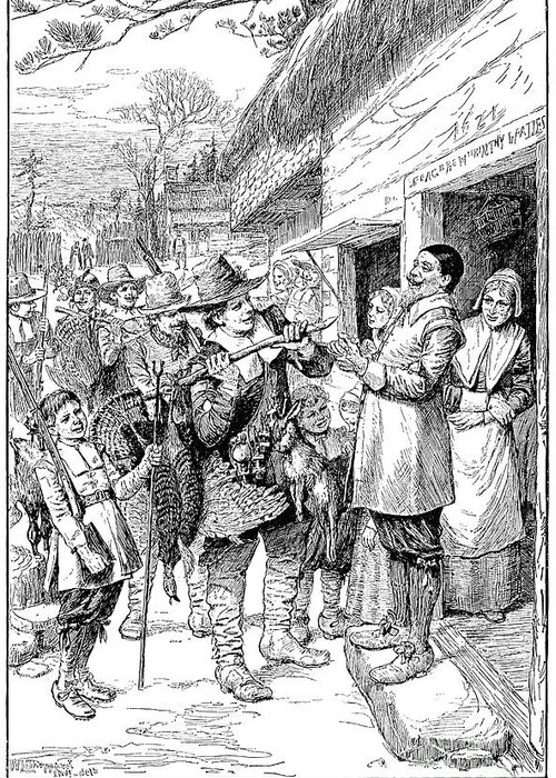 1621 Greeting Card featuring the photograph Pilgrims: Thanksgiving, 1621 by Granger