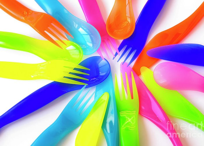 Baby Greeting Card featuring the photograph Plastic Cutlery by Carlos Caetano