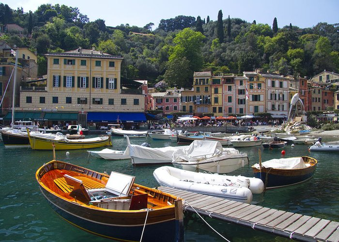 Portofino Greeting Card featuring the photograph Portofino In The Italian Riviera In Liguria Italy by David Smith