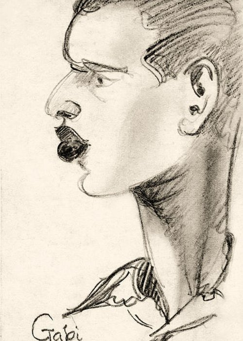Affairs Greeting Card featuring the drawing Portrait by Odon Czintos