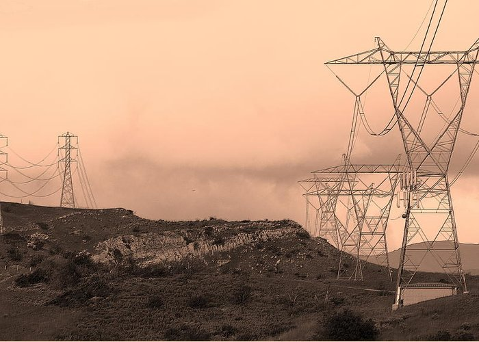 Power Lines Greeting Card featuring the photograph Power Lines by Viktor Savchenko