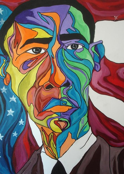 President Greeting Card featuring the painting President Obama by Jason JaFleu Fleurant