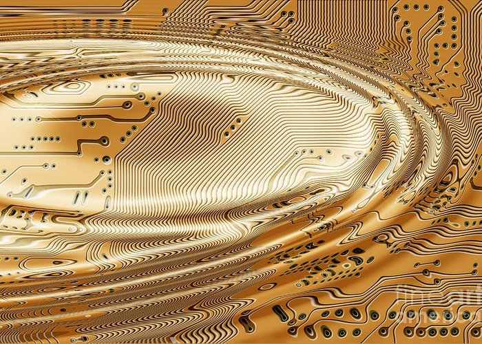 Printed Greeting Card featuring the digital art Printed Circuit by Michal Boubin