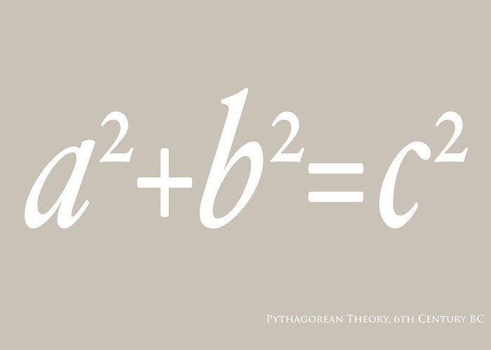 Pythagorean Greeting Card featuring the digital art Pythagoras Maths Equation by Michael Tompsett
