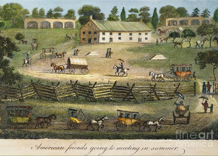 1811 Greeting Card featuring the photograph Quaker Meeting, 1811 by Granger