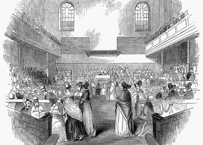 1843 Greeting Card featuring the photograph Quaker Meeting, 1843 by Granger