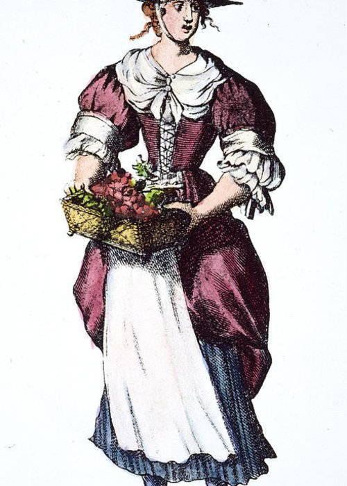 17th Century Greeting Card featuring the photograph Quaker Woman 17th Century by Granger