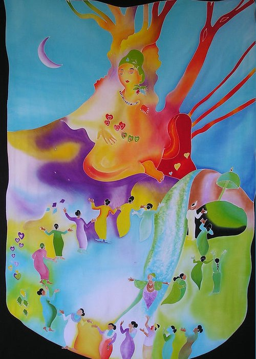 Quan Yin Greeting Card featuring the digital art Quan Yin by Joanie Mitchell