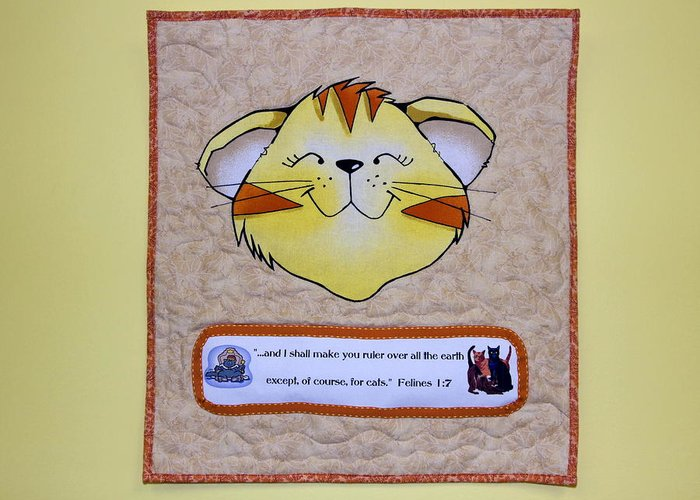 Quilted Wall Hanging Greeting Card featuring the photograph Quilted Cat by Sally Weigand