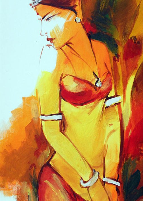 Radha Greeting Card featuring the painting Radha by Manish Verma
