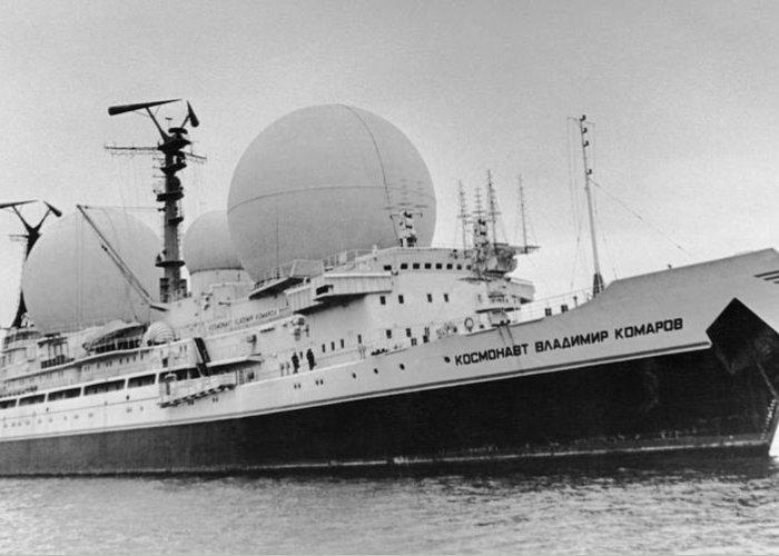 Cosmonaut Vladimir Komarov Greeting Card featuring the photograph Radio Antennae On A Soviet Ship by Ria Novosti