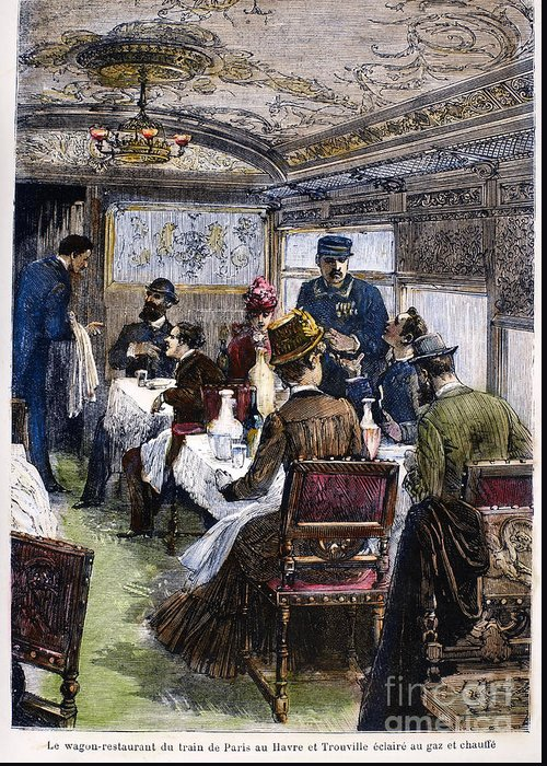 1880 Greeting Card featuring the photograph Railroad: Dining Car, 1880 by Granger
