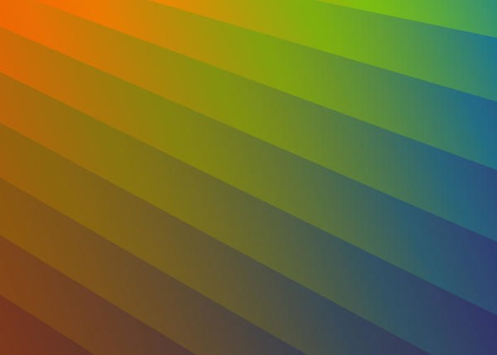 Multi-colored Greeting Card featuring the digital art Rainbow Waves by Alan Bennington