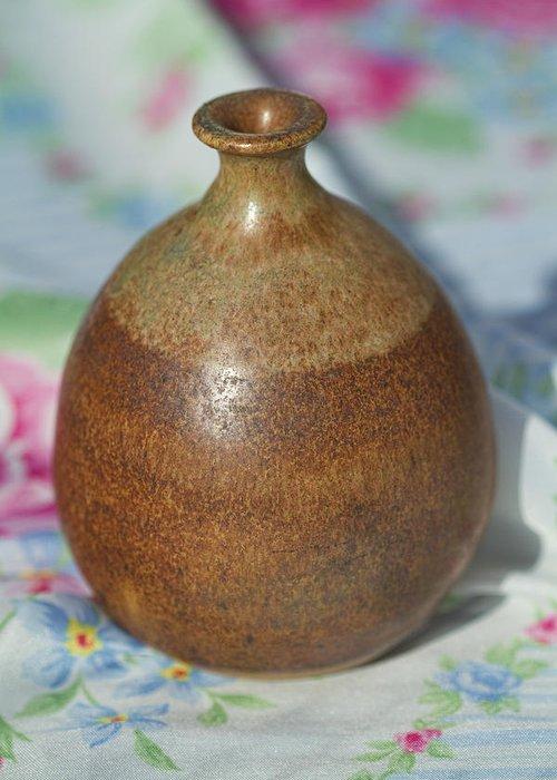 John Regis Tuska Greeting Card featuring the photograph Rare John Regis Tuska Pottery Vase by Kathy Clark