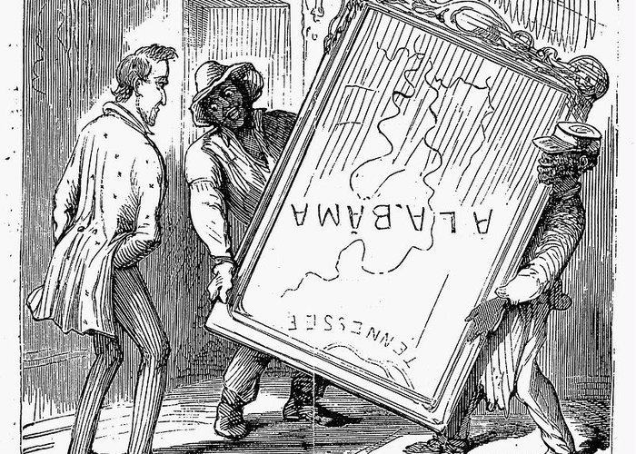 1868 Greeting Card featuring the photograph Reconstruction Cartoon by Granger
