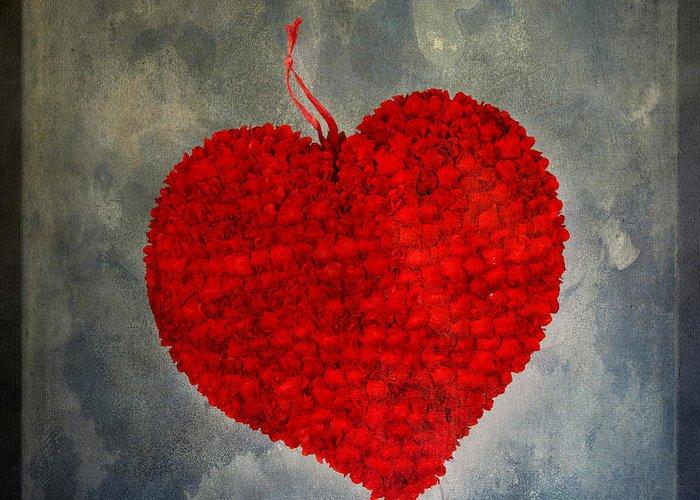 Texture Greeting Card featuring the photograph Red Heart by Bernard Jaubert