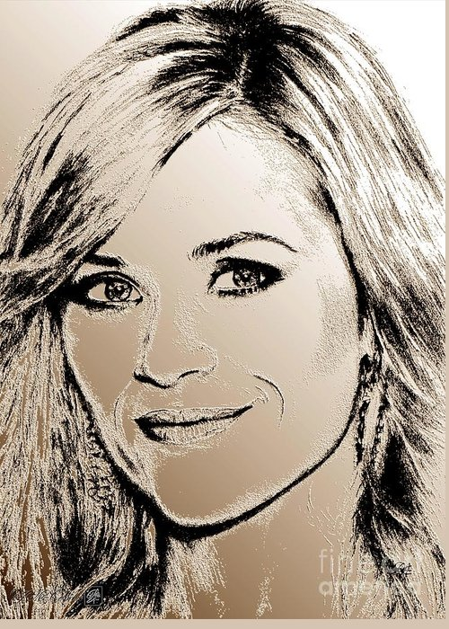 Reese Witherspoon Greeting Card featuring the digital art Reese Witherspoon In 2010 by J McCombie