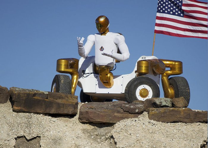 Robot Greeting Card featuring the photograph Robonaut 2 Poses Atop Its New Wheeled by Stocktrek Images