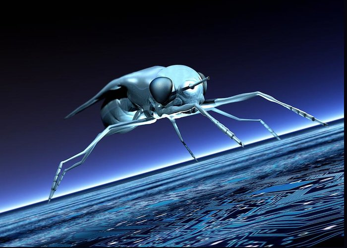 Illustration Greeting Card featuring the photograph Robotic Fly, Artwork by Victor Habbick Visions