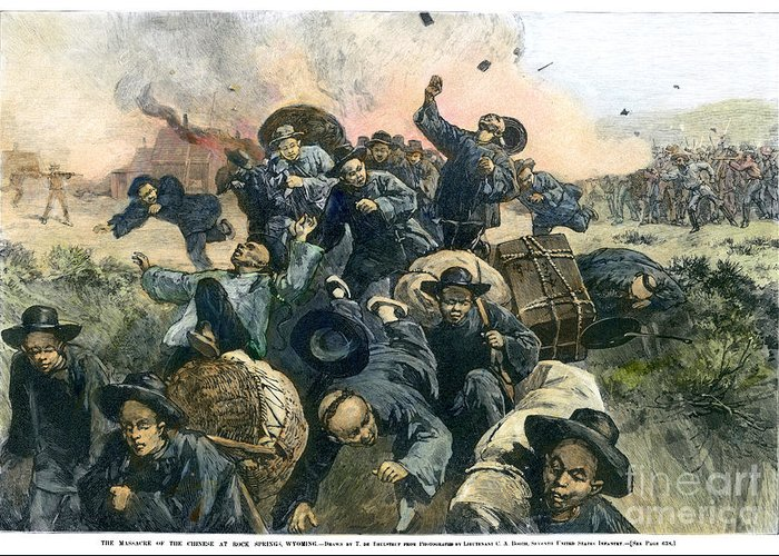 1885 Greeting Card featuring the photograph Rock Springs Massacre by Granger