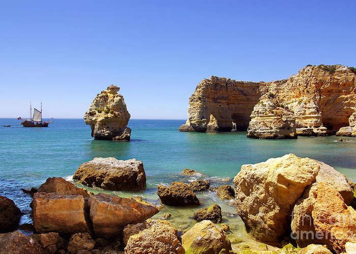 Algarve Greeting Card featuring the photograph Rocky Coast by Carlos Caetano