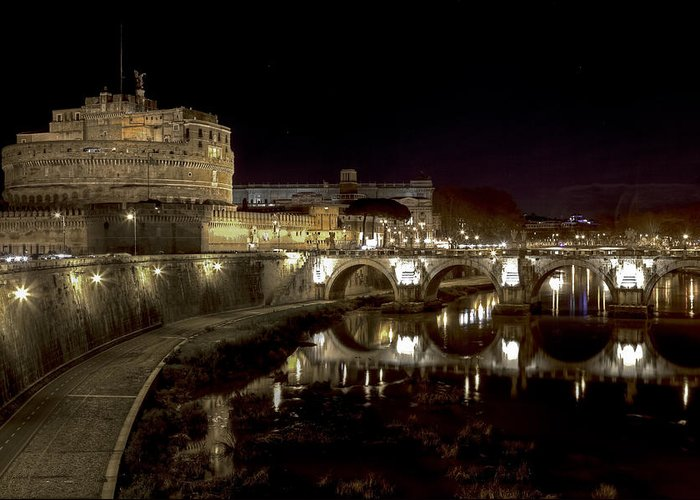 Angelo Greeting Card featuring the photograph Rome Ponte San Angelo by Joana Kruse