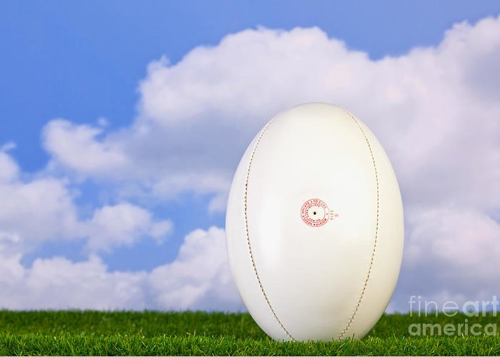 Rugby Ball Greeting Card featuring the photograph Rugby Ball Tee'd Up On Grass by Richard Thomas