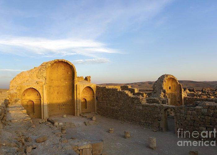 Shivta Greeting Card featuring the photograph Ruins Of Shivta Byzantine Church by Nir Ben-Yosef