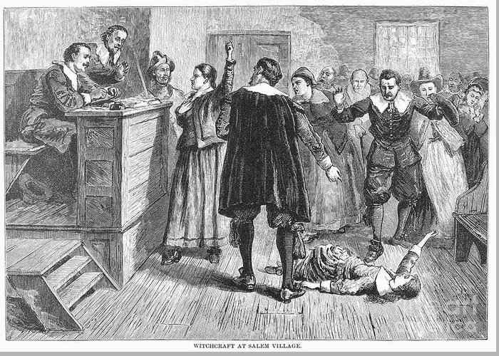 1692 Greeting Card featuring the photograph Salem Witch Trials, 1692 by Granger