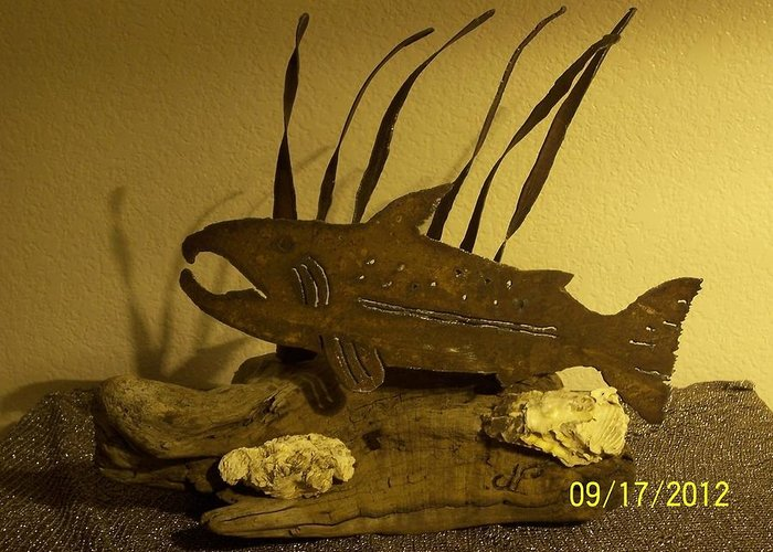 Garden Greeting Card featuring the sculpture Salmon On Driftwood by JP Giarde