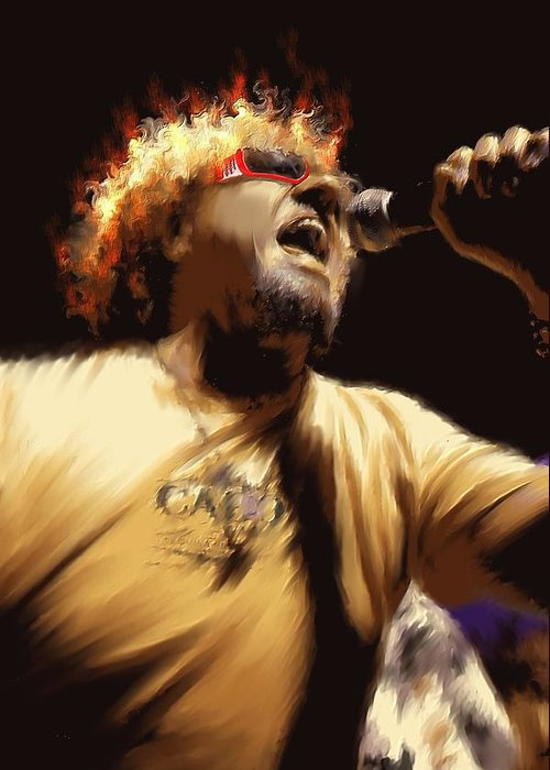 Digital Greeting Card featuring the painting Sammy Hagar by Lance Kelly