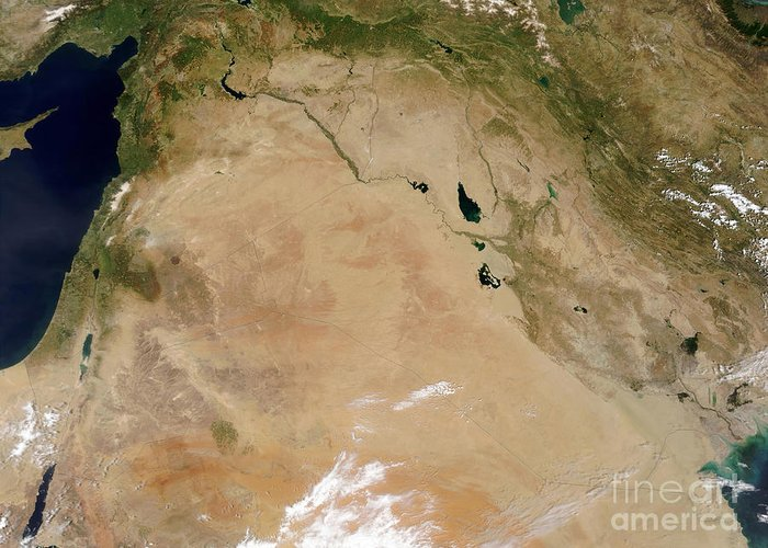 Color Image Greeting Card featuring the photograph Satellite View Of The Middle East by Stocktrek Images