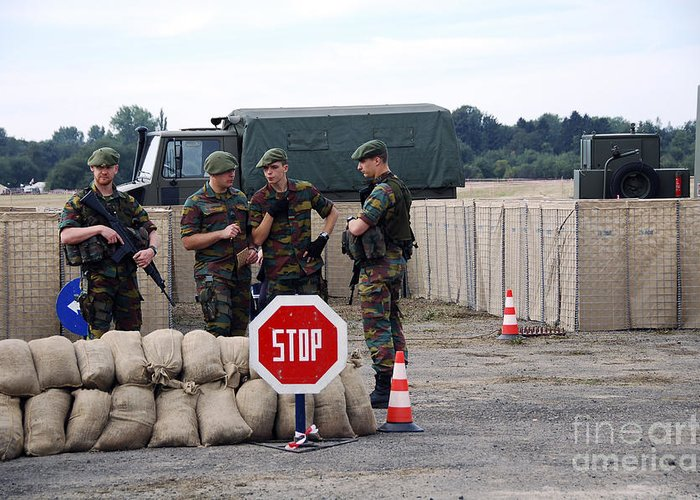Armed Forces Greeting Card featuring the photograph Scenery Of A Checkpoint Used by Luc De Jaeger
