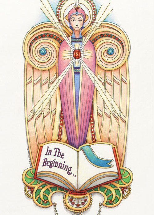 Colored Pencil Greeting Card featuring the drawing Scroll Angel - Ionica by Amy S Turner