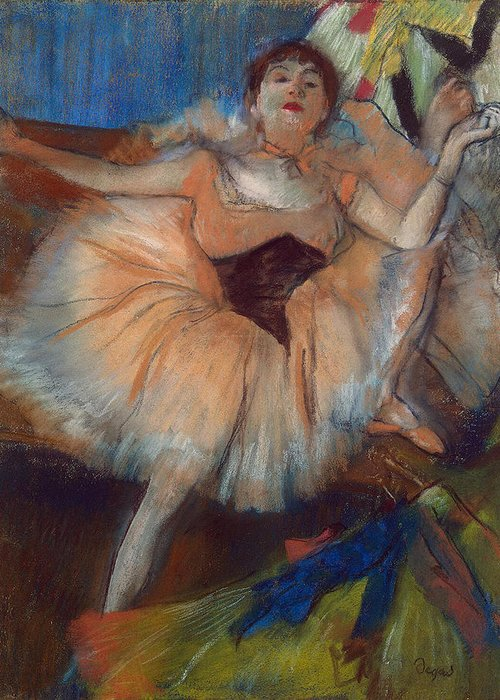 Seated Dancer Greeting Card featuring the pastel Seated Dancer by Edgar Degas