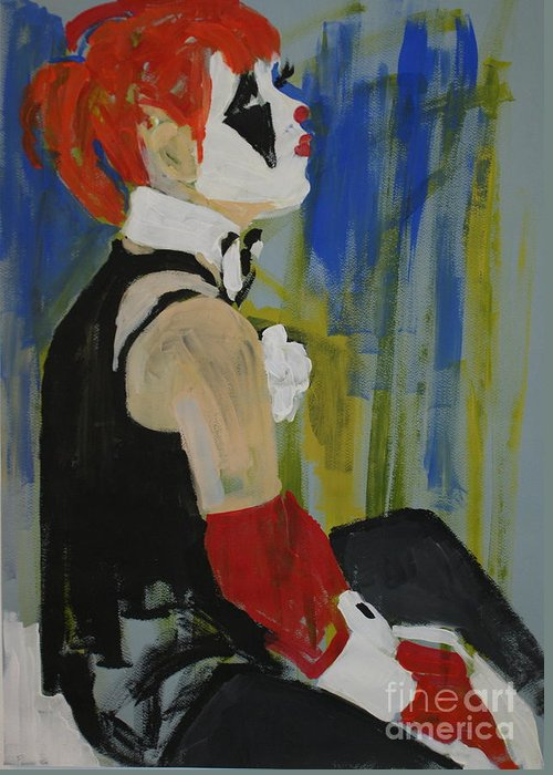 Clowns Greeting Card featuring the painting Seated Lady Clown by Joanne Claxton