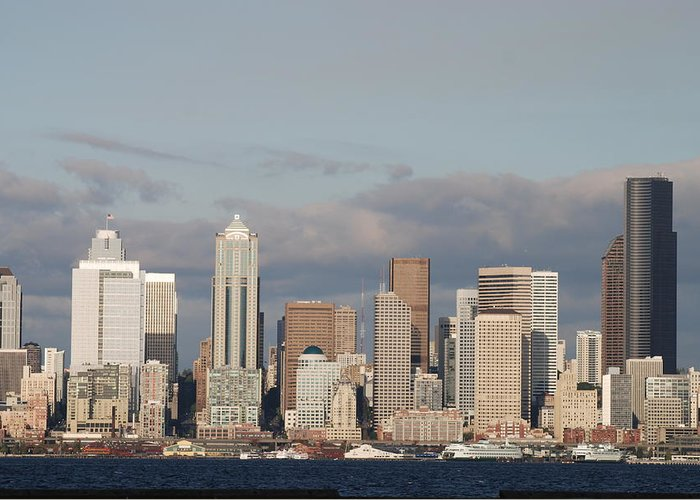 Seattle Greeting Card featuring the photograph Seattle Skyline by Michael Merry