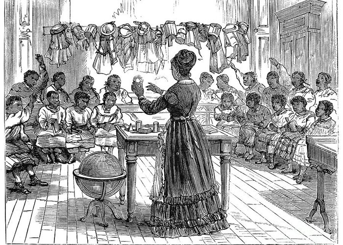 1870 Greeting Card featuring the photograph Segregated School, 1870 by Granger