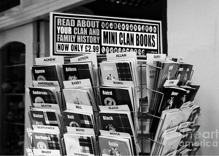 Selection Greeting Card featuring the photograph selection of scottish and irish clan history books in a shop in Scotland UK by Joe Fox