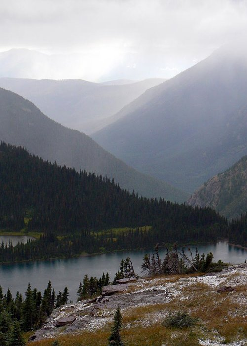 Mountains Mist Snow Lake Wilderness Nature Greeting Card featuring the photograph September Cool by Loreena Rick