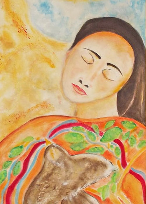 Native American Greeting Card featuring the painting She Is Listening by Gemma Benton Jackson