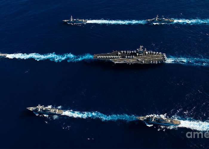 Uss John C Stennis Greeting Card featuring the photograph Ships From The John C. Stennis Carrier by Stocktrek Images