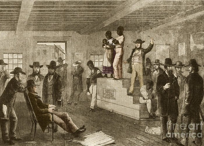 America Greeting Card featuring the photograph Slave Auction, 1861 by Photo Researchers