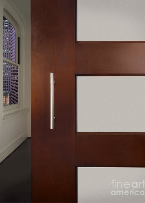 Apartment Greeting Card featuring the photograph Sliding Door In Upscale Home by Robert Pisano