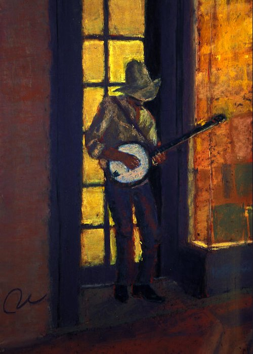 Slim Pickens Banjo Player Pearl Str. Boulder Colorado Tall Skinny Greeting Card featuring the painting Slim Pickens by Cheryl Whitehall