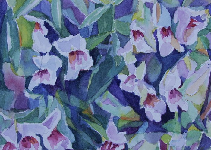 Watercolor Greeting Card featuring the painting Snap Dragons by Jan Bennicoff